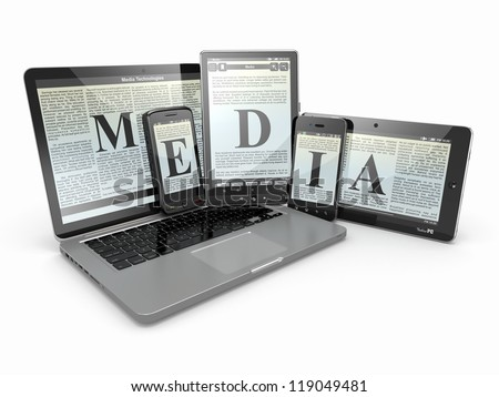 Media. Laptop, phone and tablet pc. Electronic devices. 3d - stock photo
