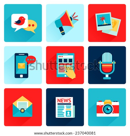 Media news social communication flat icons set with speech bubble megahone photo isolated  illustration - stock photo