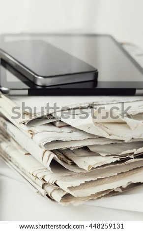 Media. Newspaper on the table