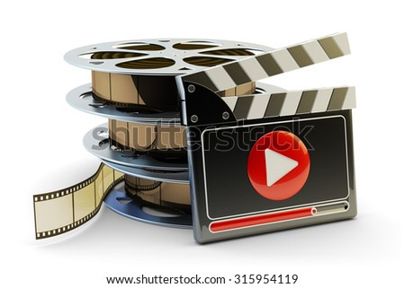 Media player and video clips production concept, stack of film reels and clapper board with play button isolated on white background - stock photo