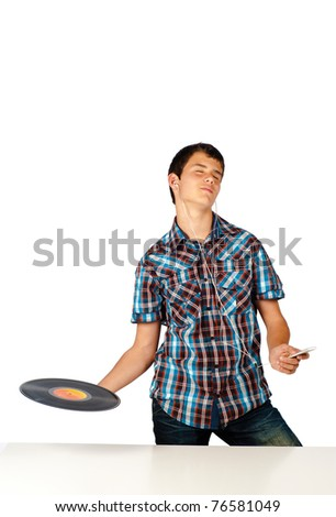 Media player and vinyl record, present and past - stock photo