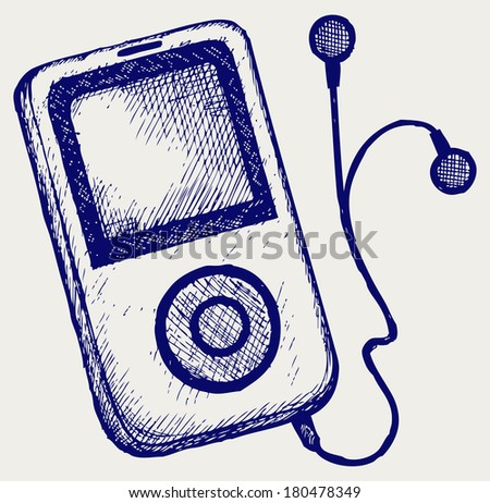 Media player. Doodle style. Raster version - stock photo