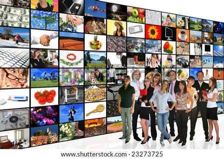 Media Room: Businesspeople and Tv Screens