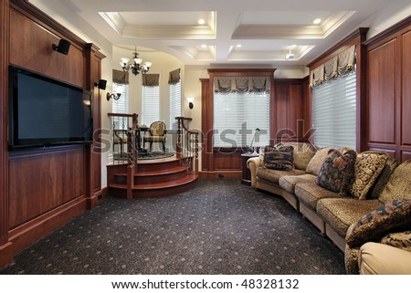 Media room in luxury home with step up cove - stock photo