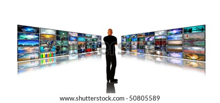 Media Screens composed entirely of images I created and any human figures were created by me with software and do not need a model release - stock photo