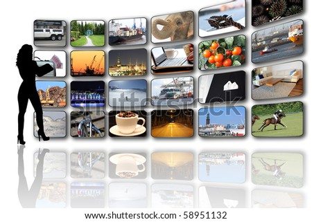 Media Screens with pictures of my portfolio - stock photo