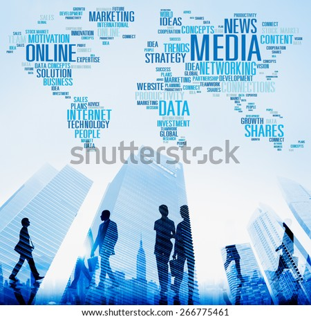 Media Social Media Network Technology Online Concept - stock photo
