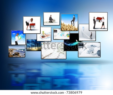 Media stream of high technology and modern television. - stock photo