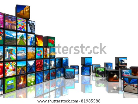 Media technologies concept: photo collage from cubes with pictures isolated on white reflective background
