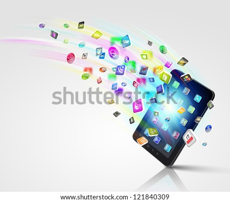 Media technology illustration with mobile phone and icons - stock photo