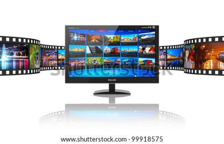 Media telecommunications and streaming video concept: widescreen TV display with streaming video gallery and filmstrip with color pictures isolated on white reflective background - stock photo