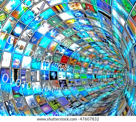 Media Tunnel with Binary - stock photo