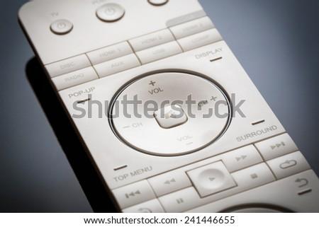 Media tv remote control. Closeup. - stock photo