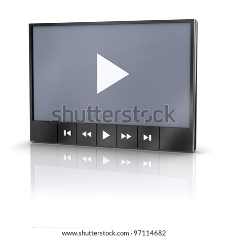 Media video player with reflection - stock photo