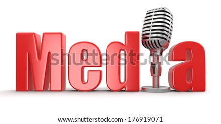 Media with Microphone (clipping path included) - stock photo