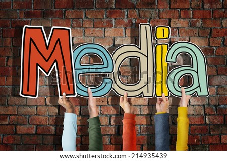 Media Word Concepts Isolated on Background - stock photo