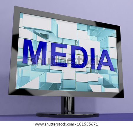 Media Word On Monitor Shows Internet Or Television Broadcasting