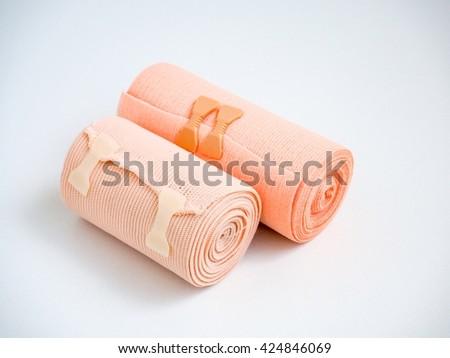 Medial elastic bandage on white background - stock photo