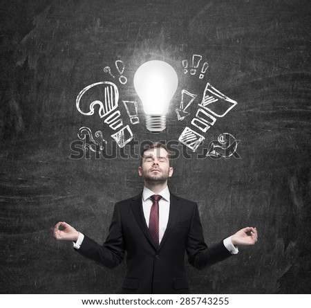 Mediating businessman is brainstorming the business problems. Turned lightbulb and question and exclamation marks.