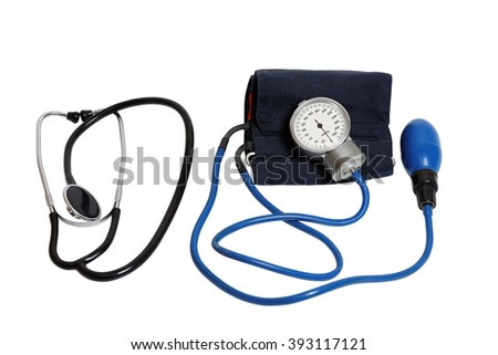 Medic instruments for measuring blood pressure - stethoscope and tonometer isolated on white - stock photo