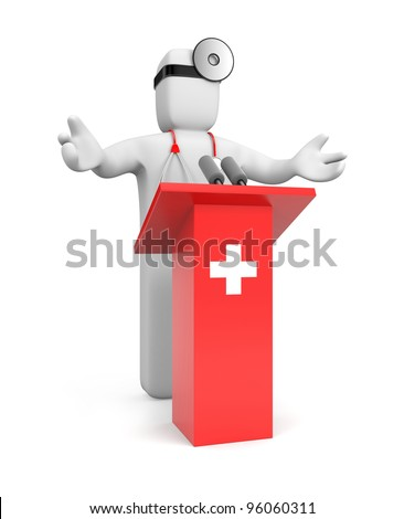 Medic speaking. Image contain clipping path - stock photo
