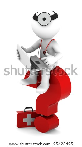 Medic with laptop sittting on red question mark. Isolated on white - stock photo