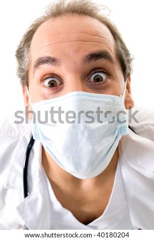 Medic with stethoscope and medical mask on white background. - stock photo