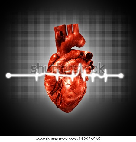 Medical abstract backgrounds with human 3D rendered heart - stock photo
