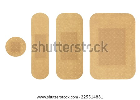 medical adhesive bandages of different sizes isolated on white - stock photo
