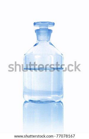 Medical alcohol bottle with liquid inside-half full