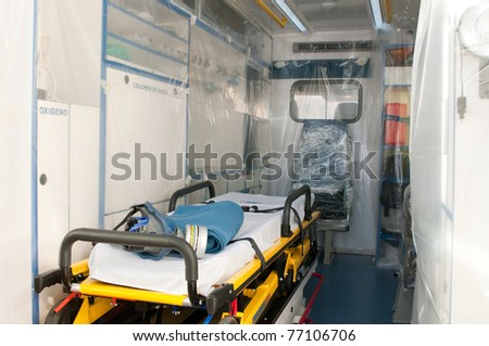 medical ambulance with plastic for ebola or virus contamination - stock photo
