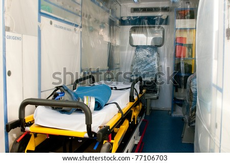 medical ambulance with plastic for virus or ebola contamination - stock photo