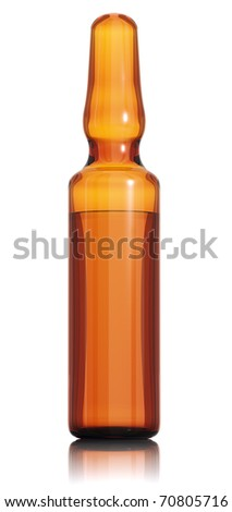 Medical ampule of clear brown glass isolated on white background. 3d render - stock photo
