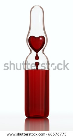 Medical ampule of clear glass with blood dropping heart inside isolated on white background. 3d render - stock photo