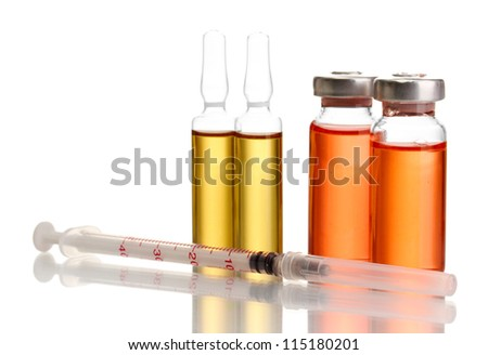 medical ampules and syringes, isolated on white - stock photo