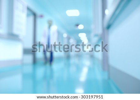 Medical and hospital corridor defocused background with modern laboratory (clinic) - stock photo