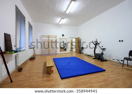 Medical and kinestezic gym interior with different devices