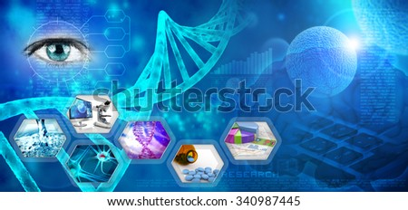 medical and pharmaceutical research abstract blue backdrop - stock photo