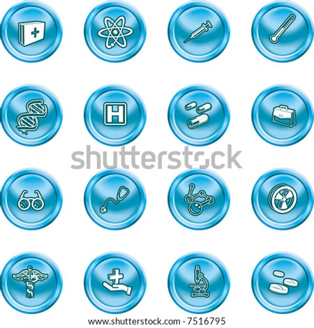 Medical and scientific icons. A set of icons related to medicine and science. Raster version. - stock photo