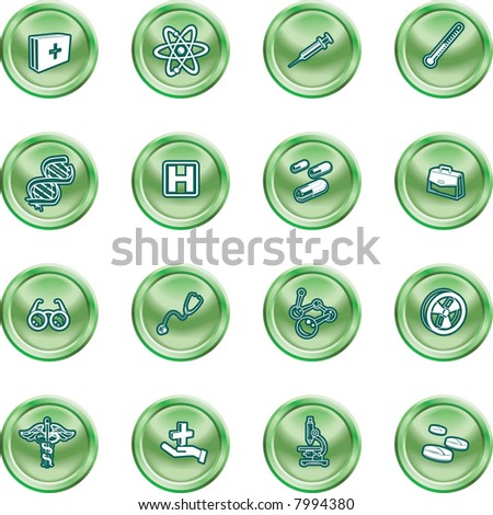 Medical and scientific icons. A set of icons related to medicine and science. Raster version - stock photo