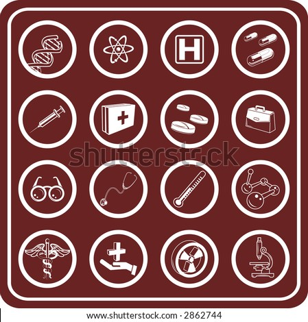 Medical and scientific icons. Raster version