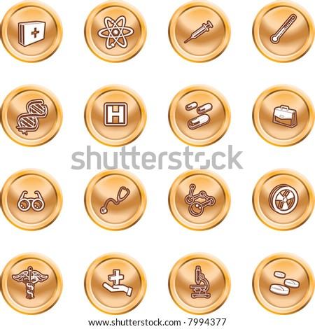Medical and scientific icons. Raster version A set of icons related to medicine and science - stock photo