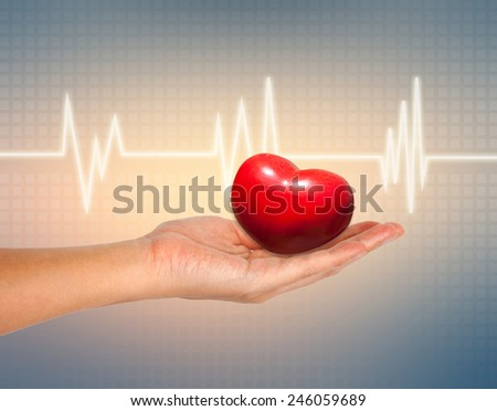 medical and The cares concept, Red Heart in female hand with ECG background  - stock photo