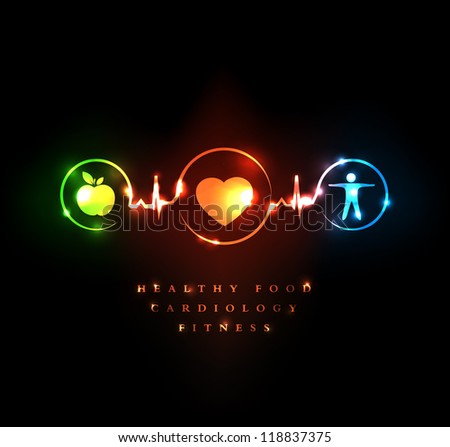 Medical and Wellness symbol. Healthy food and fitness leads to healthy heart and healthy life. - stock photo