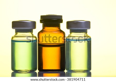 Medical apmuly with drugs on a yellow background
