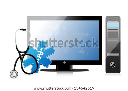 medical app with a computer illustration design over white