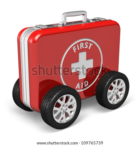 Medical assistance concept: red case with first aid kit with car wheels isolated on white background - stock photo