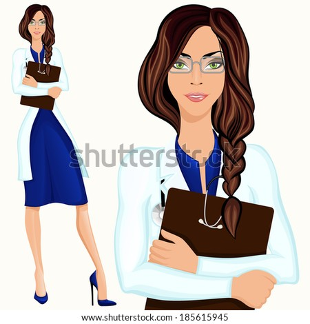 Medical attractive doctor assistant standing in white lab coat with document folder  illustration - stock photo
