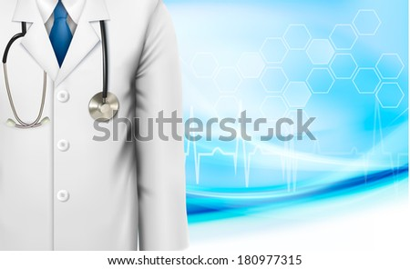 Medical background with a doctor's lab white coat and stethoscope. Raster version - stock photo