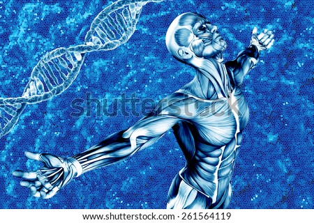 Medical background with DNA and man  - stock photo
